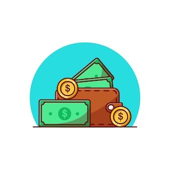 Desenho de ilustração vetorial de algum dinheiro e moedas em uma carteira
