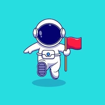 Desenho de ilustração vetorial de astronauta pairando carregando uma bandeira