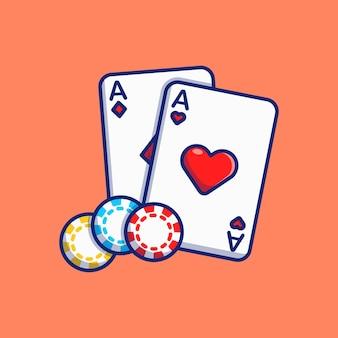 Desenho de ilustração vetorial de cartas de jogar e fichas de cassino
