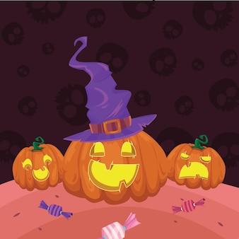Desenho de ilustração vetorial de cena de abóboras com chapéu de bruxa
