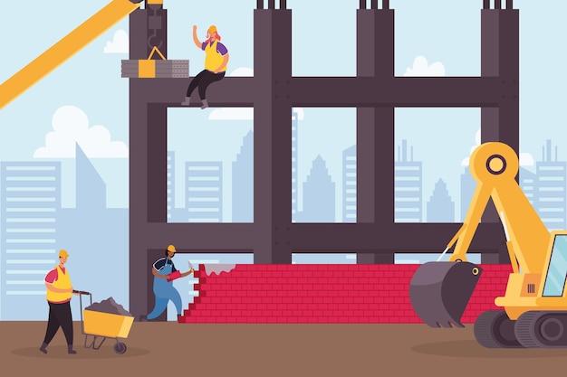 Desenho de ilustração vetorial de cena de trabalhadores e veículo escavadeira de construção