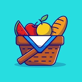 Desenho de ilustração vetorial de cesta de piquenique com frutas e pão