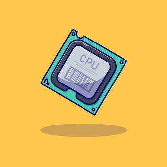 Desenho de ilustração vetorial de cpu de computador realista