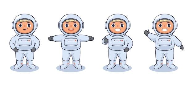 Desenho de ilustração vetorial de crianças astronautas