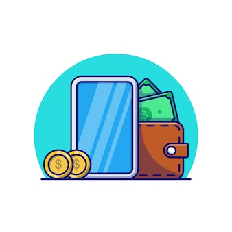 Desenho de ilustração vetorial de dólar carteira de smartphone e algumas moedas