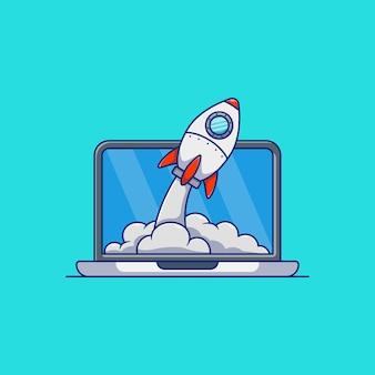 Desenho de ilustração vetorial de foguete voando para fora do laptop