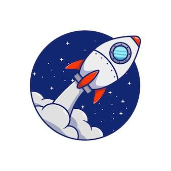 Desenho de ilustração vetorial de foguete voando pelo círculo noturno
