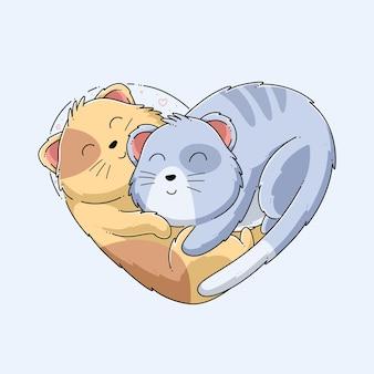Desenho de ilustração vetorial de gato fofo