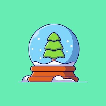 Desenho de ilustração vetorial de globo de neve com árvore de natal dentro