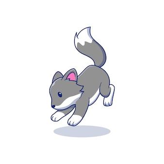 Desenho de ilustração vetorial de lobo fofinho pulando