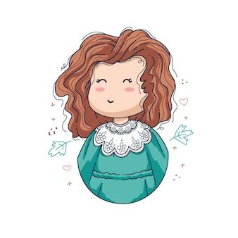 Desenho de ilustração vetorial de menina fofa