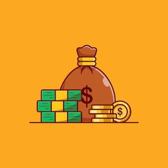 Desenho de ilustração vetorial de moeda de ouro e dólar saco de dinheiro
