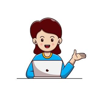 Desenho de ilustração vetorial de mulher sentada trabalhando com um laptop