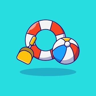 Desenho de ilustração vetorial de pá de bóia e bola de praia