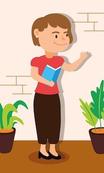 Desenho de ilustração vetorial de personagem professora trabalhadora