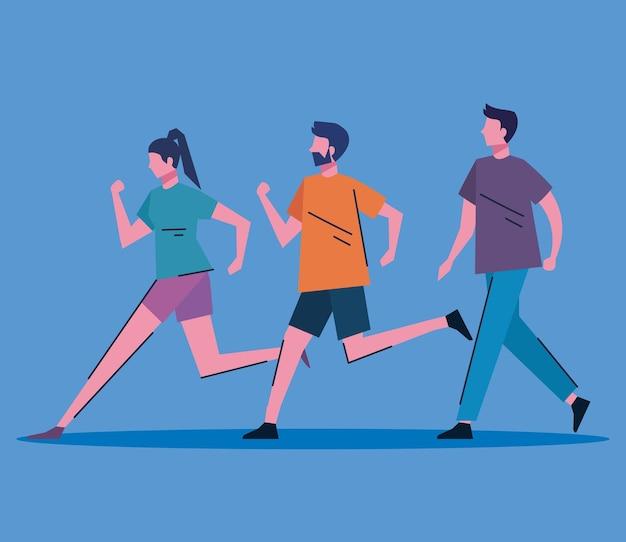 Desenho de ilustração vetorial de personagens jovens correndo e andando