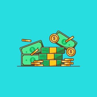 Desenho de ilustração vetorial de pilha de dólares e moedas