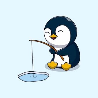Desenho de ilustração vetorial de pinguim bonitinho pesca