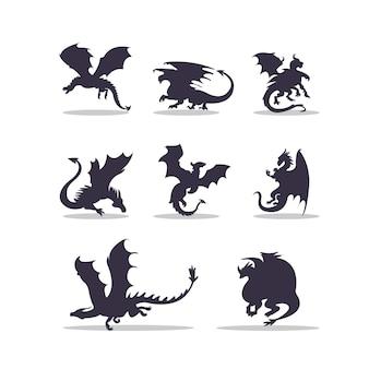 Desenho de ilustração vetorial de silhueta de dragão