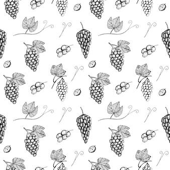 Desenho de ilustração vetorial de uvas de padrão sem emenda