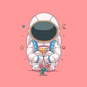 Desenho de ilustração vetorial fofo de astronauta