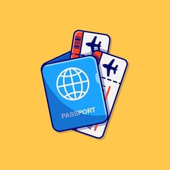 Desenho de ilustração vetorial para passaporte e passagem de avião