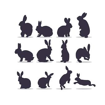 Desenho de ilustração vetorial silhueta de coelho