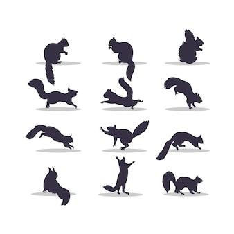 Desenho de ilustração vetorial silhueta de esquilo