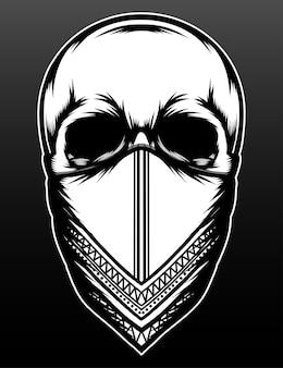 Desenho de ilustração vintage de esqueleto da máfia