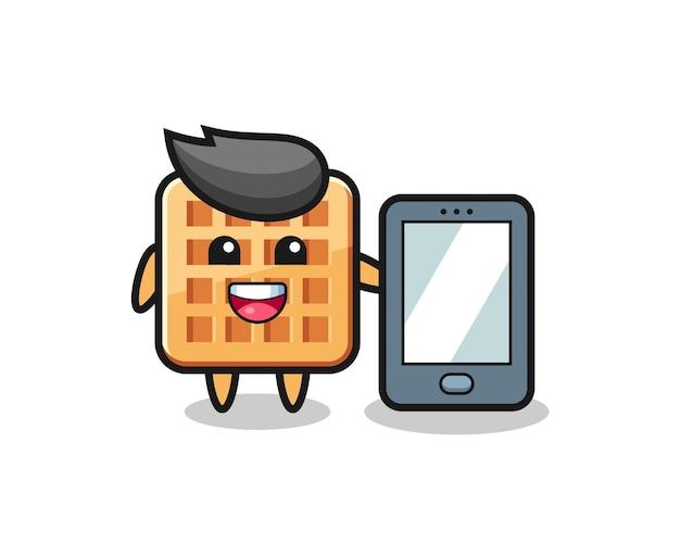 Desenho de ilustração waffle segurando um smartphone, design fofo