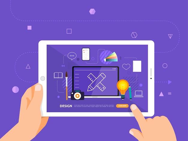 Desenho de ilustrações concpt e-learning com clique da mão no tablet curso online de design gráfico