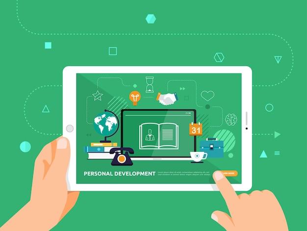 Desenho de ilustrações concpt e-learning com clique de mão no tablet curso online de desenvolvimento pessoal