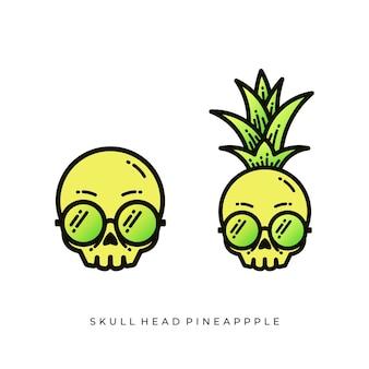 Desenho de ilustrações de cabeça de crânio de abacaxi