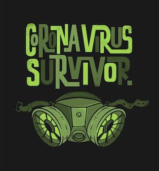 Desenho de impressão da camiseta do coronavirus survivor