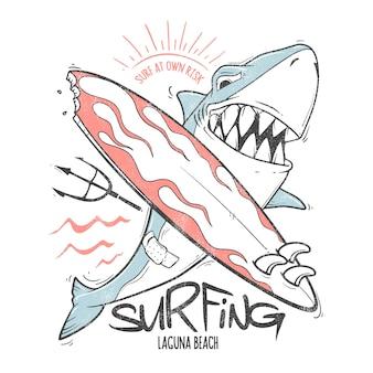 Desenho de impressão de surf de tubarão