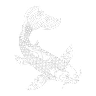 Desenho de koi japonês para colorir