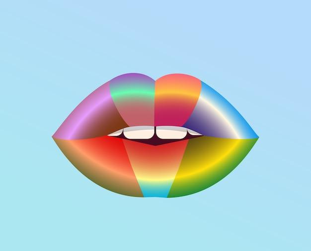 Desenho de lábios sexy com arco-íris