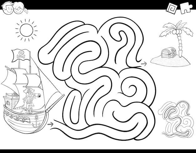 Desenho de labirinto para colorir com pirata