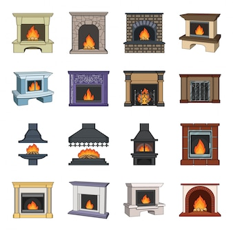 Desenho de lareira definir ícone. desenho animado conjunto interior. lareira.