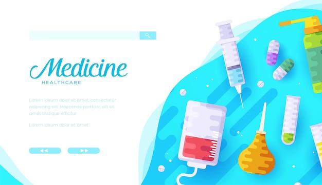 Desenho de layout de banner web de cartoon de drogaria
