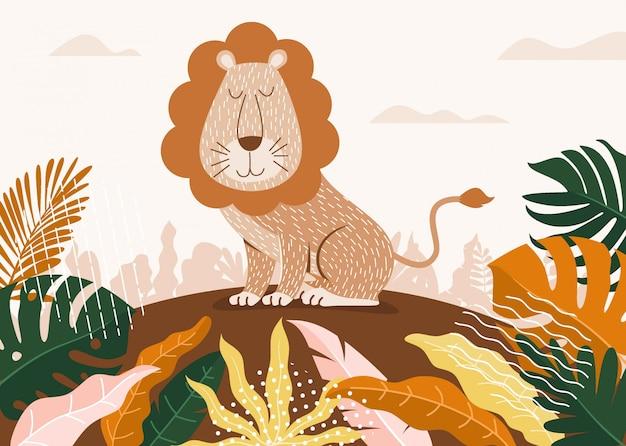 Desenho de leão bonito entre selva com folhas e árvores.