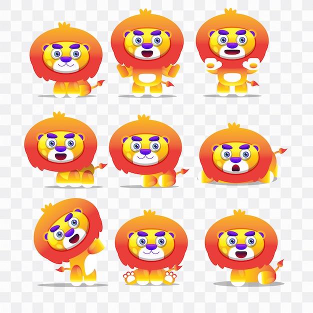 Desenho de leão com diferentes poses e expressões.