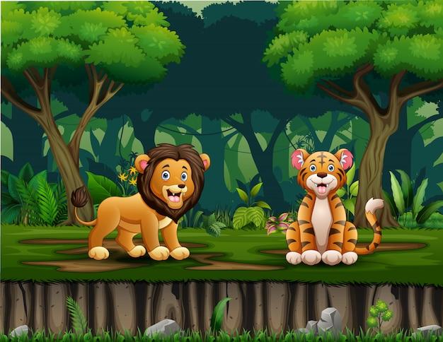 Desenho de leão e tigre vivendo na selva