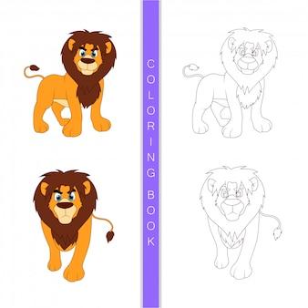 Desenho de leão fofo, livro para colorir