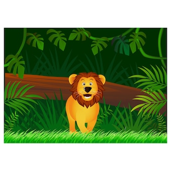 Desenho de leão no fundo da floresta