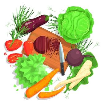 Desenho de legumes de corte, com tábua e culturas frescas