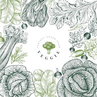 Desenho de legumes esboço mão desenhada.