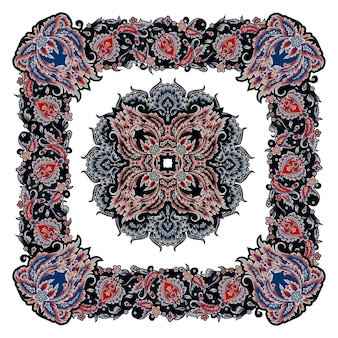 Desenho de lenço com elementos decorativos florais em estilo vintage