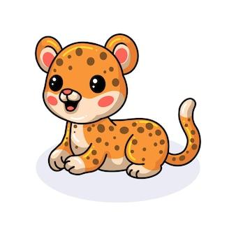 Desenho de leopardo de bebê fofo deitado