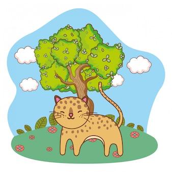 Desenho de leopardo isolado